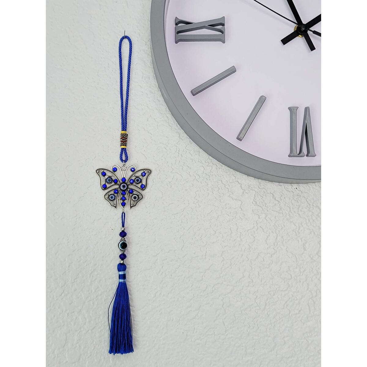 Luckboostium Evil Eye Butterfly Charm Pendant For Good Luck And Protection, Comes With Traditional Blue And White Colors With Matching Tassels And Durable Cord For Hanging In Cars Or On Walls And Bags