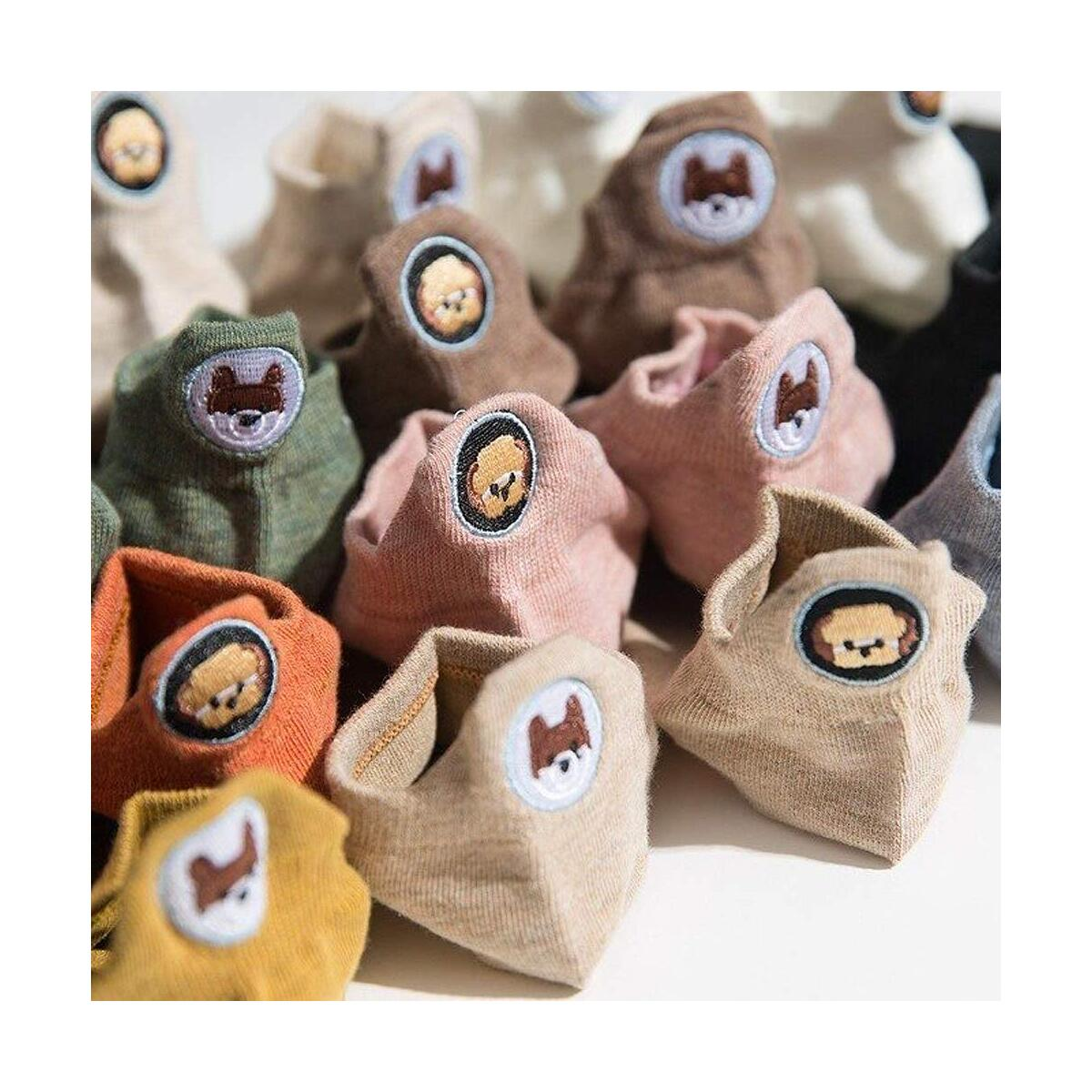 10 PACK Cartoon Puppy Dog Embroidery Cute Women's Ankle No Show Socks - 10 different designs and colors