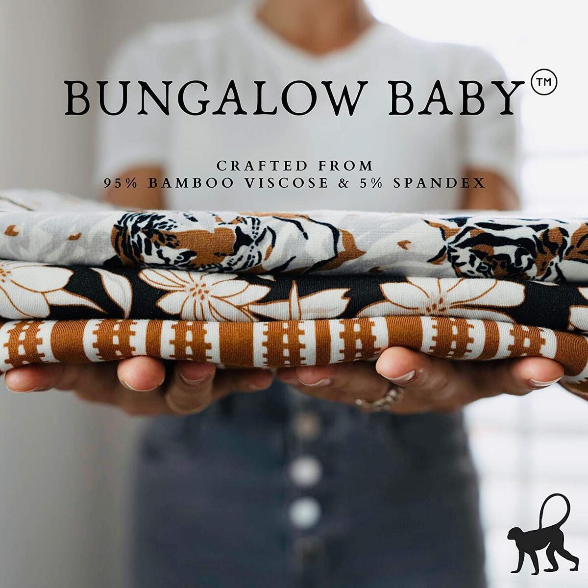Bungalow Baby Swaddle Set - Premium Bamboo Viscose Baby Swaddle Blanket & Hat Set, Baby Boy, Baby Girl, Unisex, Newborn Swaddle, Baby Wrap, Bamboo Blanket, (Tiger Palm)