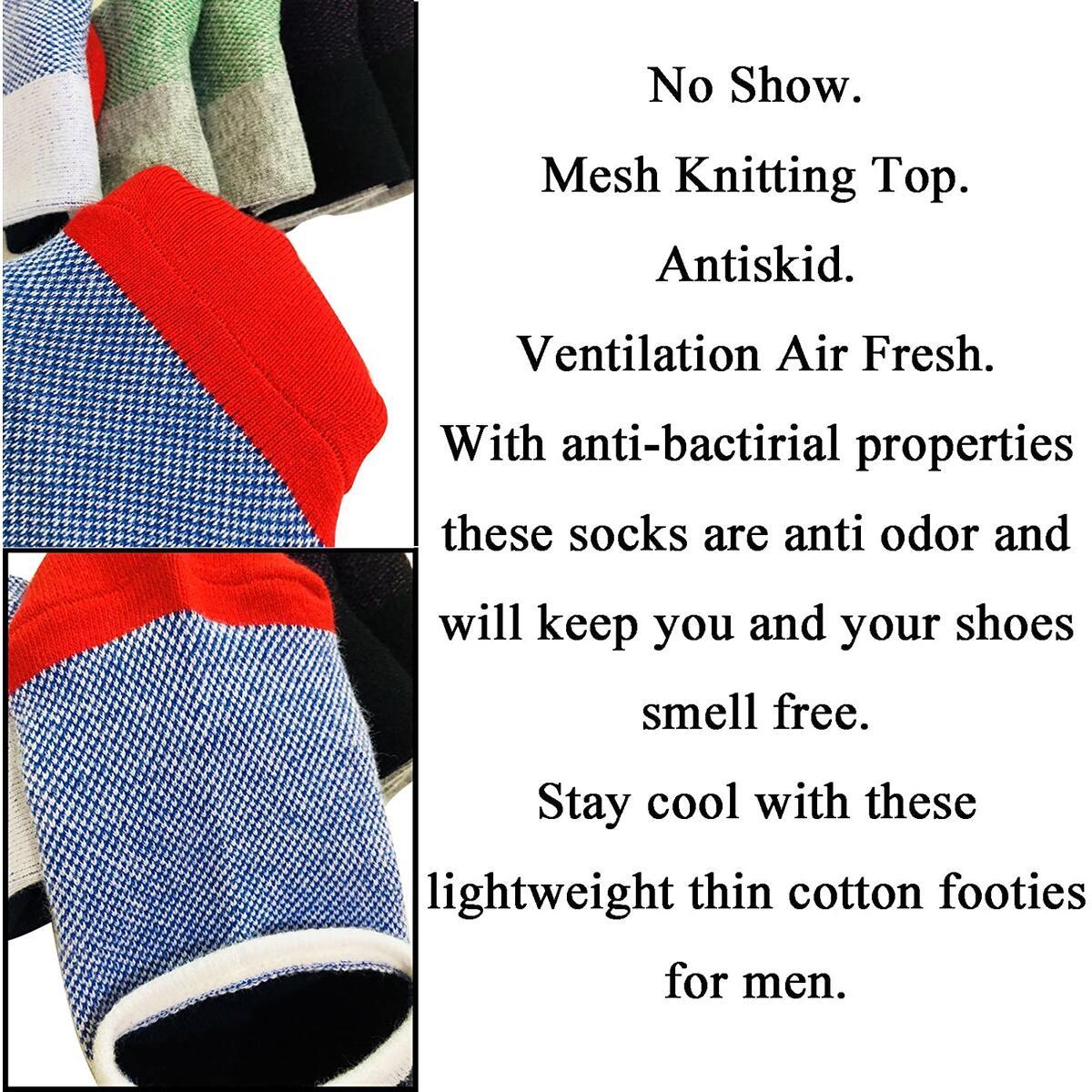 No Show Socks Men 6 Pairs Cotton Mens Non-Slip Low Cut Ankle Socks Size 6-12
