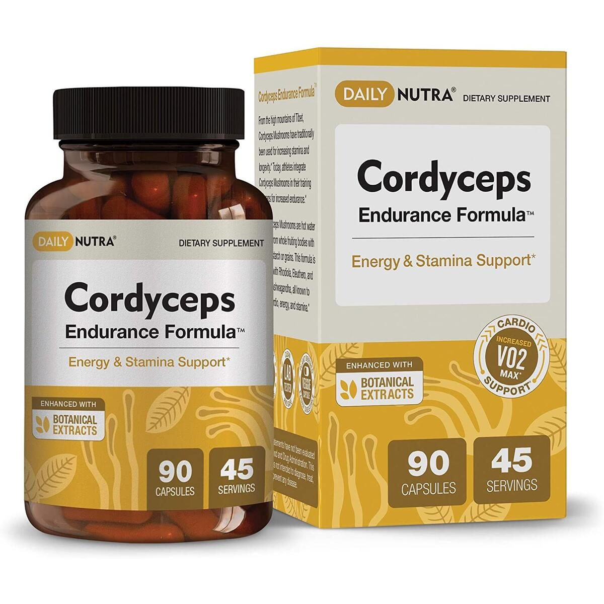 Cordyceps Endurance Formula by DailyNutra - Natural Energy Supplement - Caffeine Free | Organic Mushroom Extract with KSM-66 Ashwagandha, Eleuthero and Rhodiola