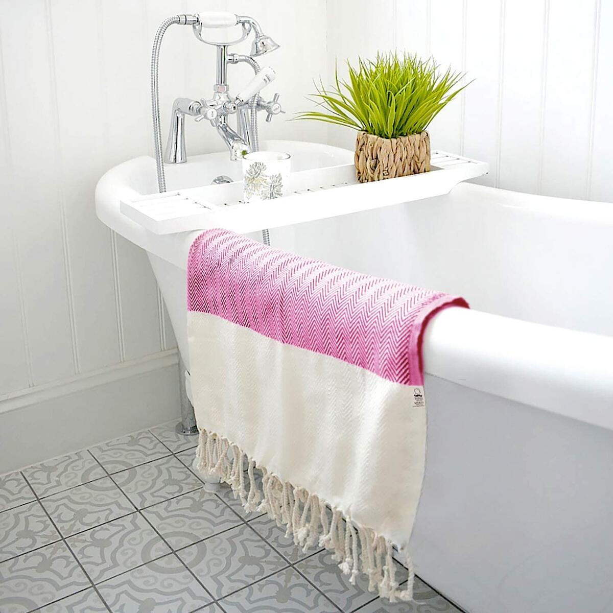 Herringbone Turkish Towel  Beach Towel 100% Cotton 77x38 inch (Fuscia)