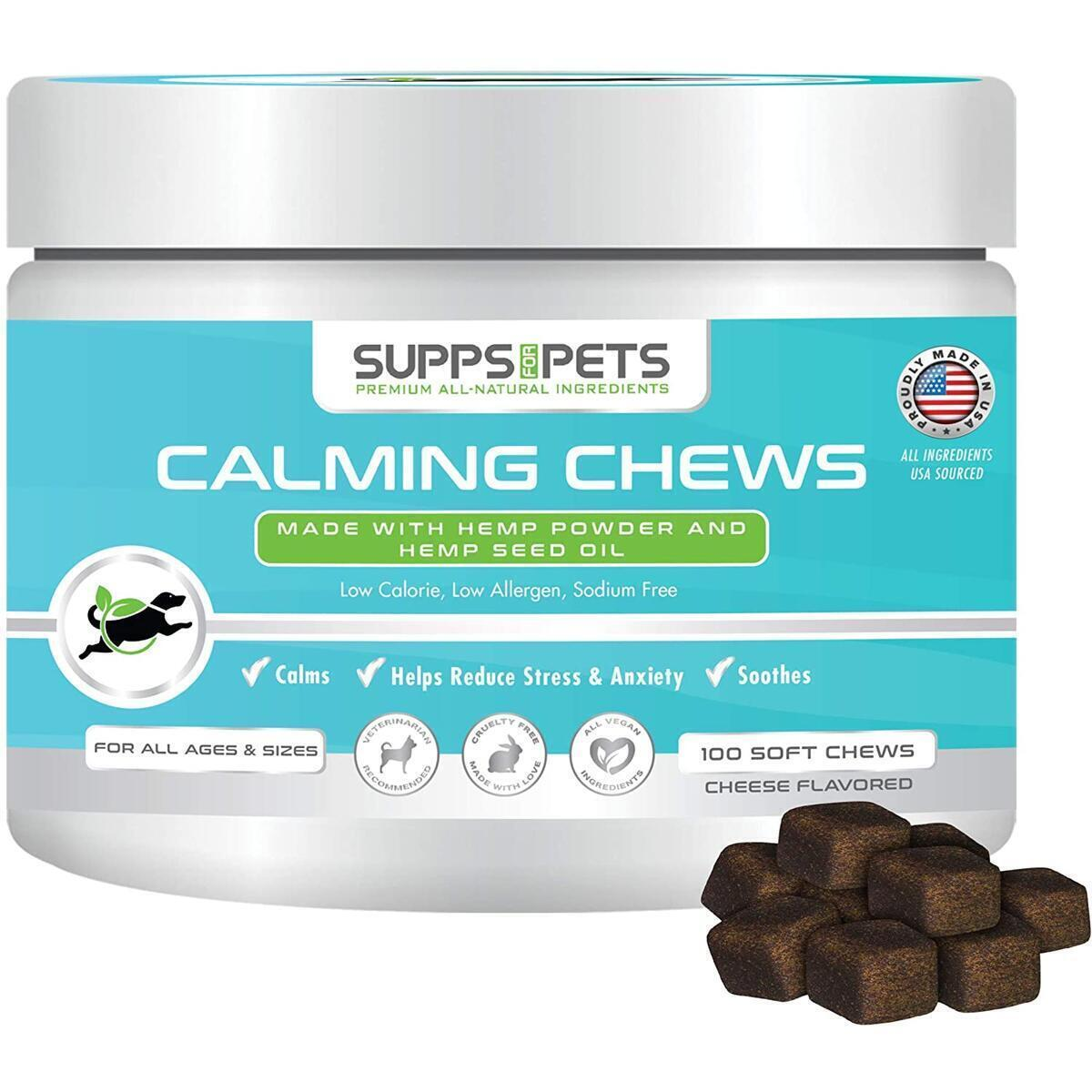 Calming Organic Hemp Chews for Dogs – Anxiety Relief Treats with Hemp Powder, Hemp Seed Oil and Melatonin – Low Cal, Low Allergen Cheese Flavored Bites for All Breeds and Sizes (100 Chews)