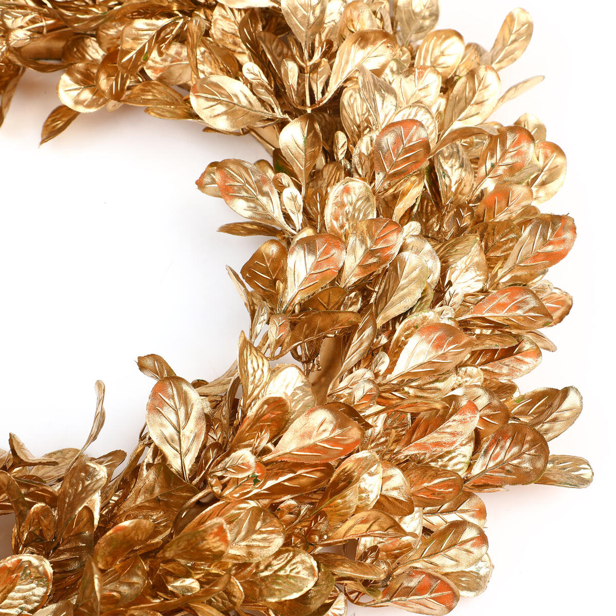 Gold Boxwood Wreath - 16 Inch Artificial Fall Wreaths for Front Door