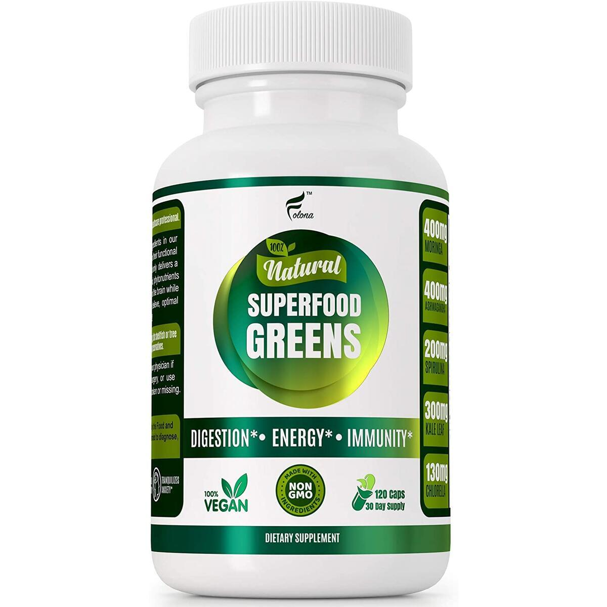 Organic Super Greens Vegan Capsules - Immune Support with All Natural Whole Food Nutrients - Improve Digestion, Boost Energy Detox Pills with Spirulina, Kale, Moringa, Ashwagandha, Turmeric, Chlorella