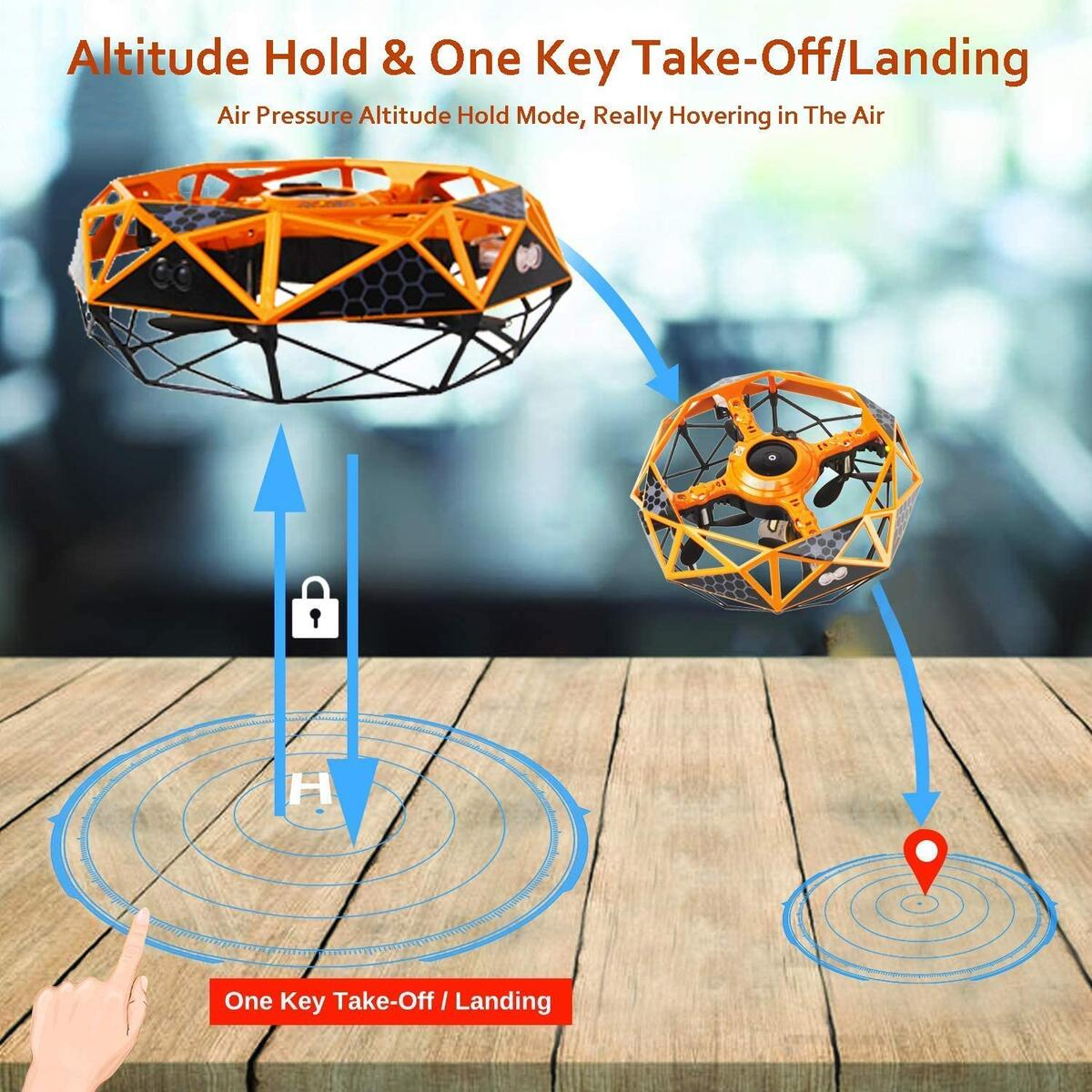 Hand induction Drone - SOWOW Intelligent Sensor Levitation 360 Rotating UFO Remote Control Flying Toys Helicopter Gift for Kids Boy and Girls