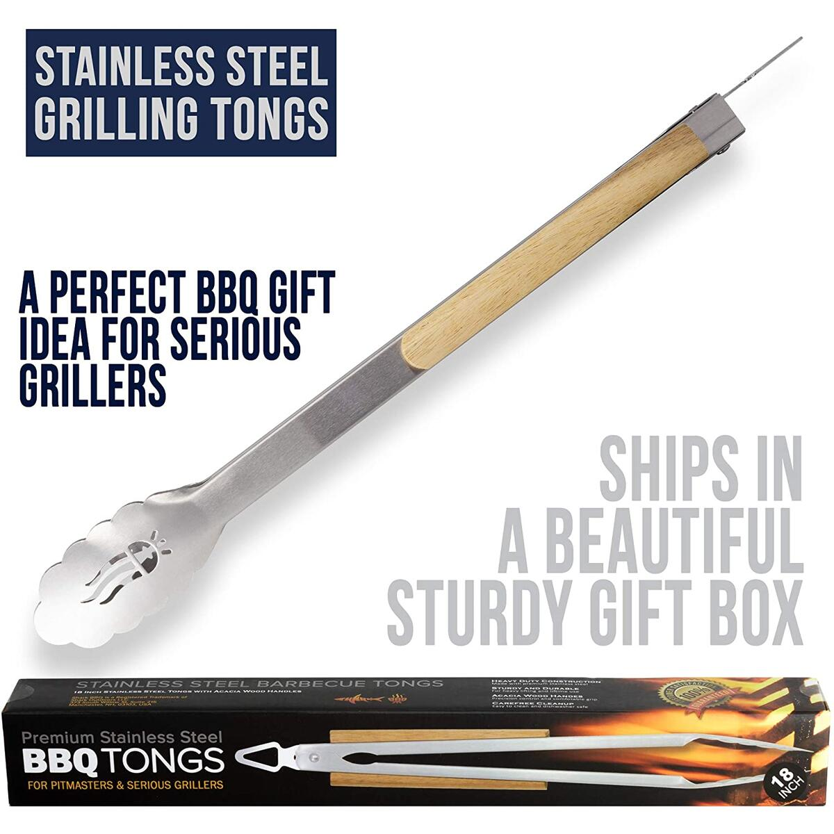 Grilling Tools BBQ Tongs - Heavy Duty Barbecue Tong w Acacia Wood Grips - 18 Inch Long Stainless Steel Meat Turner for Serious Grillers and Pitmasters - New 2020 Model