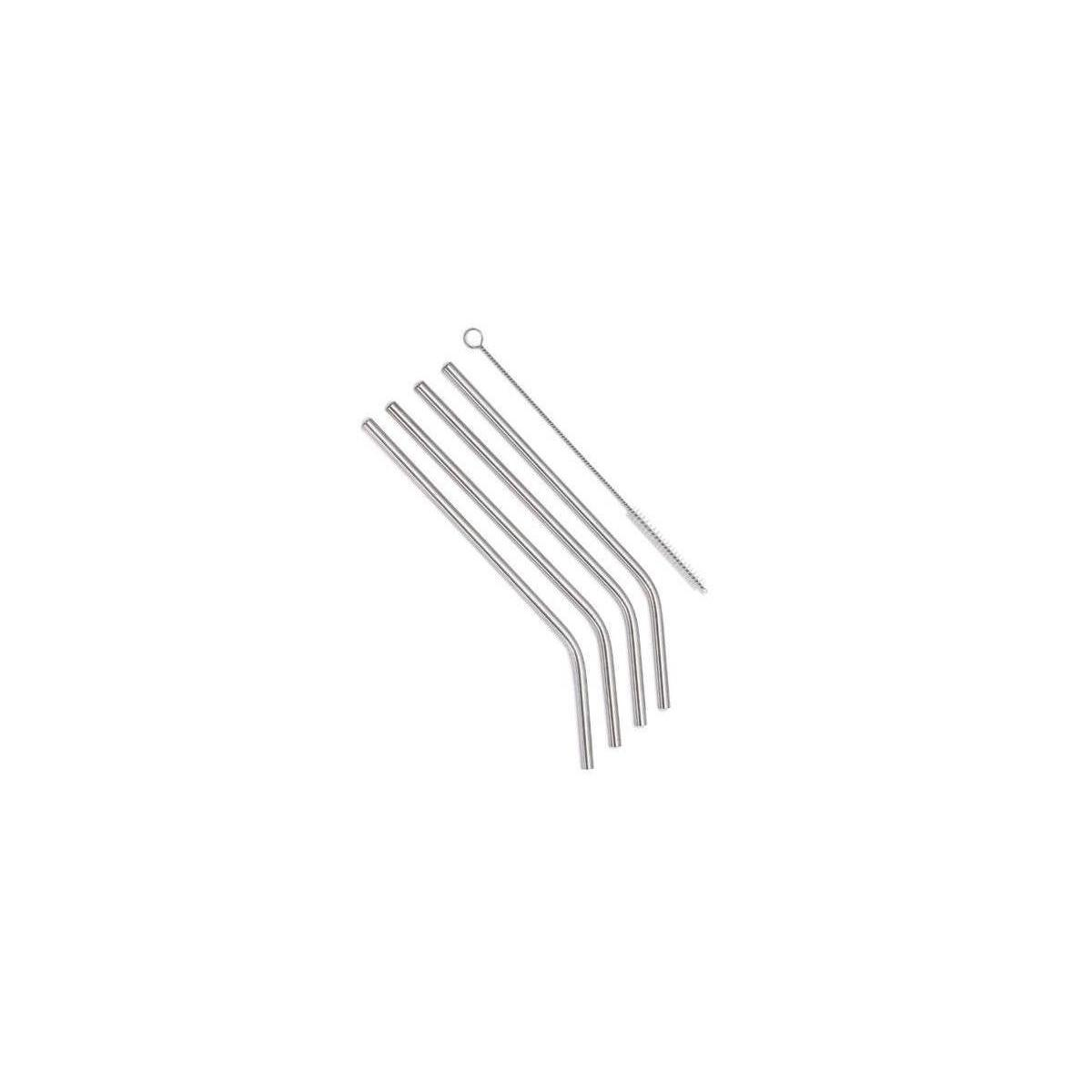 Nicely Neat Stainless Steel Drinking Straws with Cleaning Brush, Set of 4, 8.5 Inches, Bent Shape