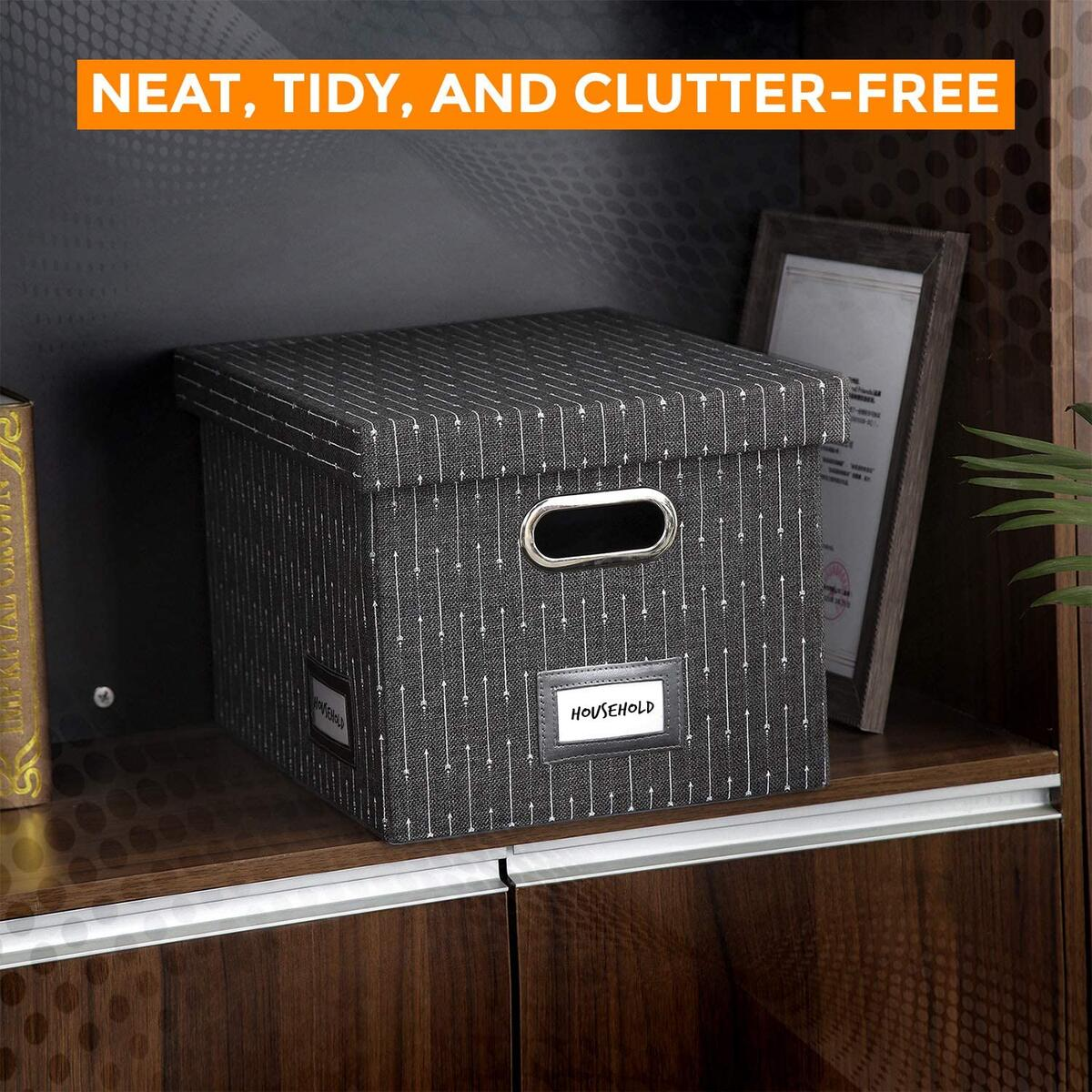 Collapsible File Box Organizer - Charcoal Arrows Pattern - Set of 1