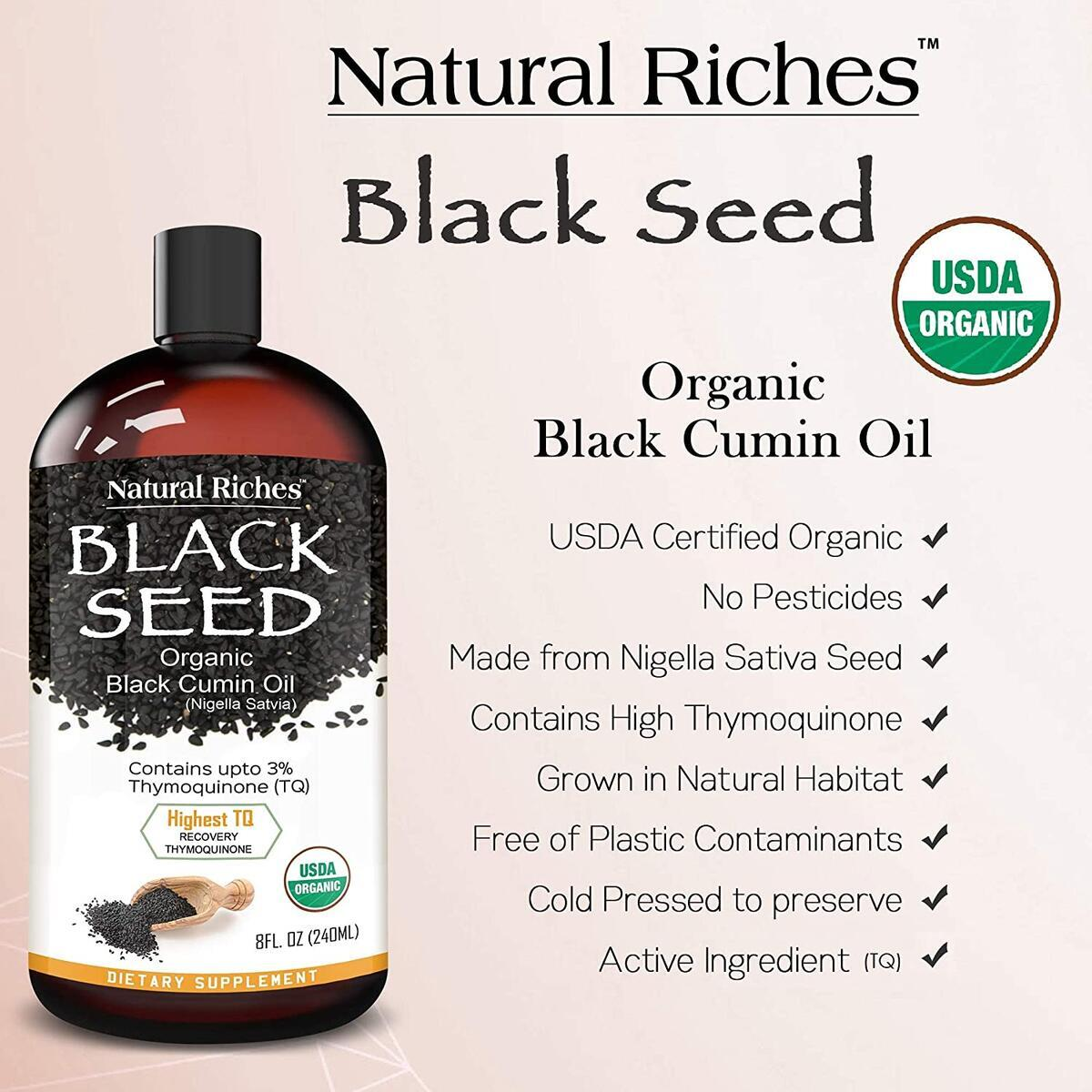 New Natural Riches Pure USDA Organic Certified Premium Black Cumin Seed Oil. GLASS BOTTLE - Nigella Sativa Undiluted, Cold Pressed, No Solvents, Vegan -8 oz…
