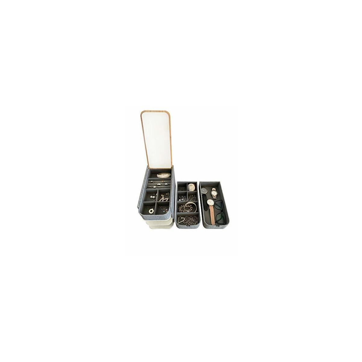 TILLYJ Jewelry Box for Women, Organizer Storage, 3 Drawer Fabric Jewelry Boxes, Triple Layer Large Jewelry Organizer Box Holder, Bamboo Lid with Mirror, Jewerly Box Case, Jewlery Box