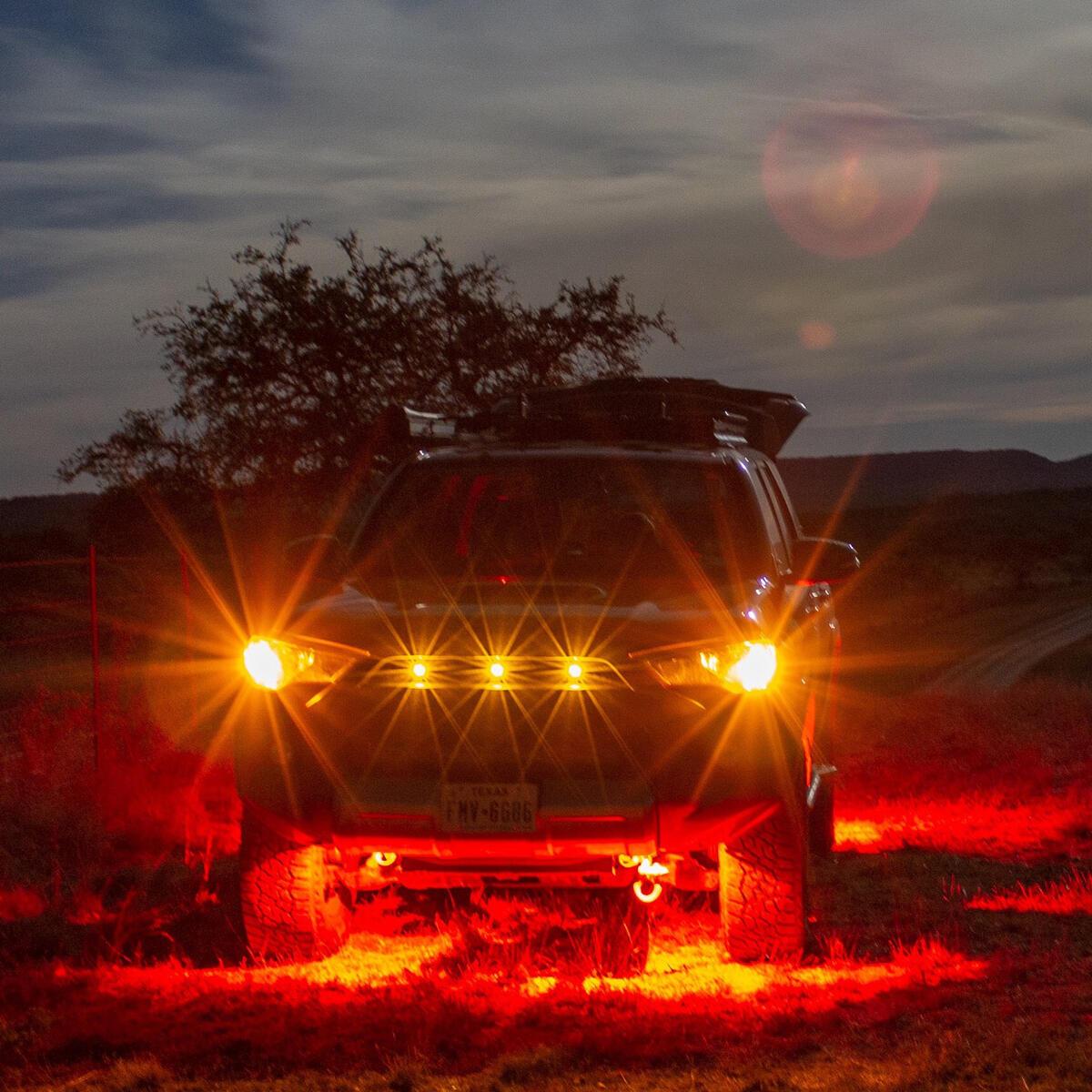 Oznium Brightest Light Bolt - Flush Mount 12V LED Light for Bumper, Grille, Cars Interior, Dash, Ambient Lighting, Motorcycle w/Sleek Aluminum Housing & Screw Nut (11 mm Black, Amber LED)