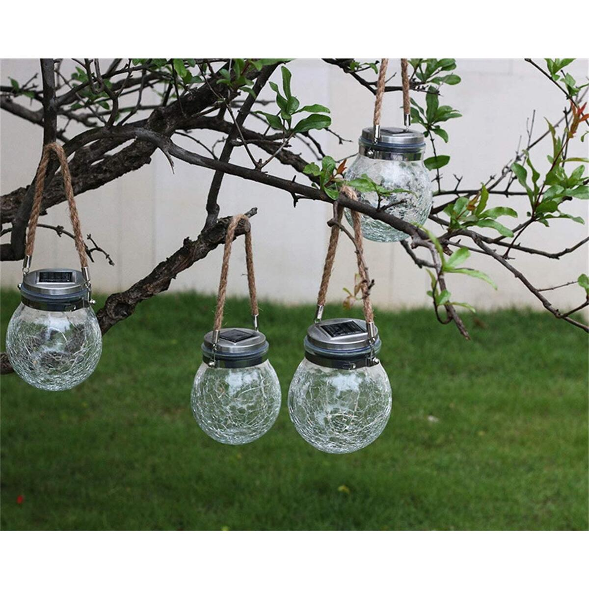 Outdoor Solar Lights,Hanging Solar Lantern for Garden, Balcony, Yard, Path, Fence Decoration,LED Lights with Cracked Jar Body,Weatherproof and Auto ON/OFF Sensor(Multi-color 2pcs