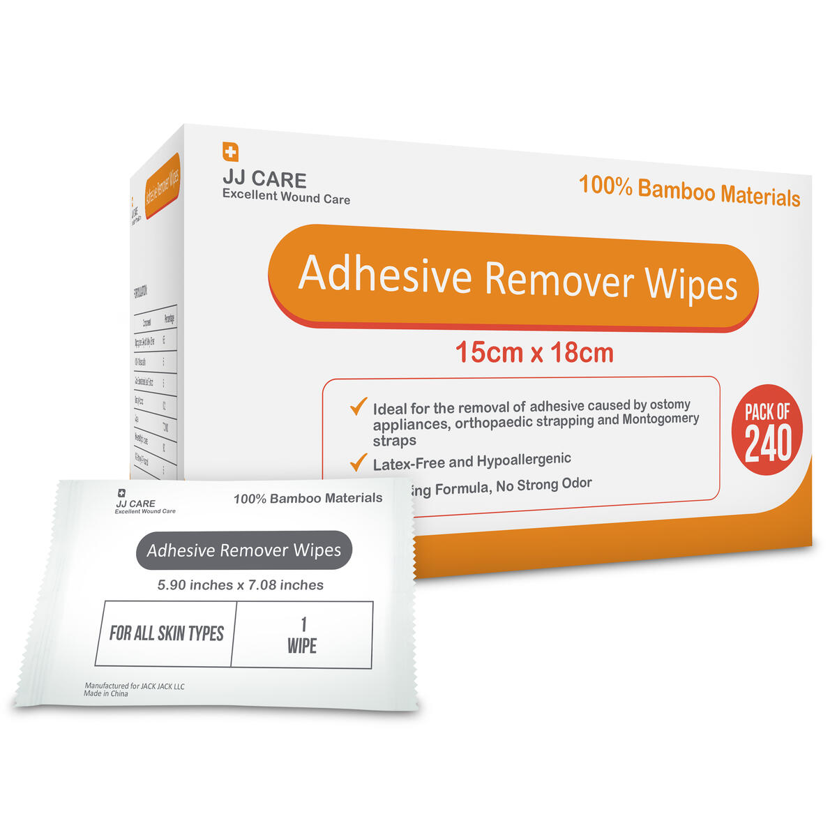 """[Pack of 240] Premium Adhesive Remover Wipes 6""""x7"""" Sting Free Adhesive Remover Wipes - Stoma Wipes - Medical Adhesive Remover Wipes- Ostomy, Colostomy Adhesive Remover Wipes for Skin"""