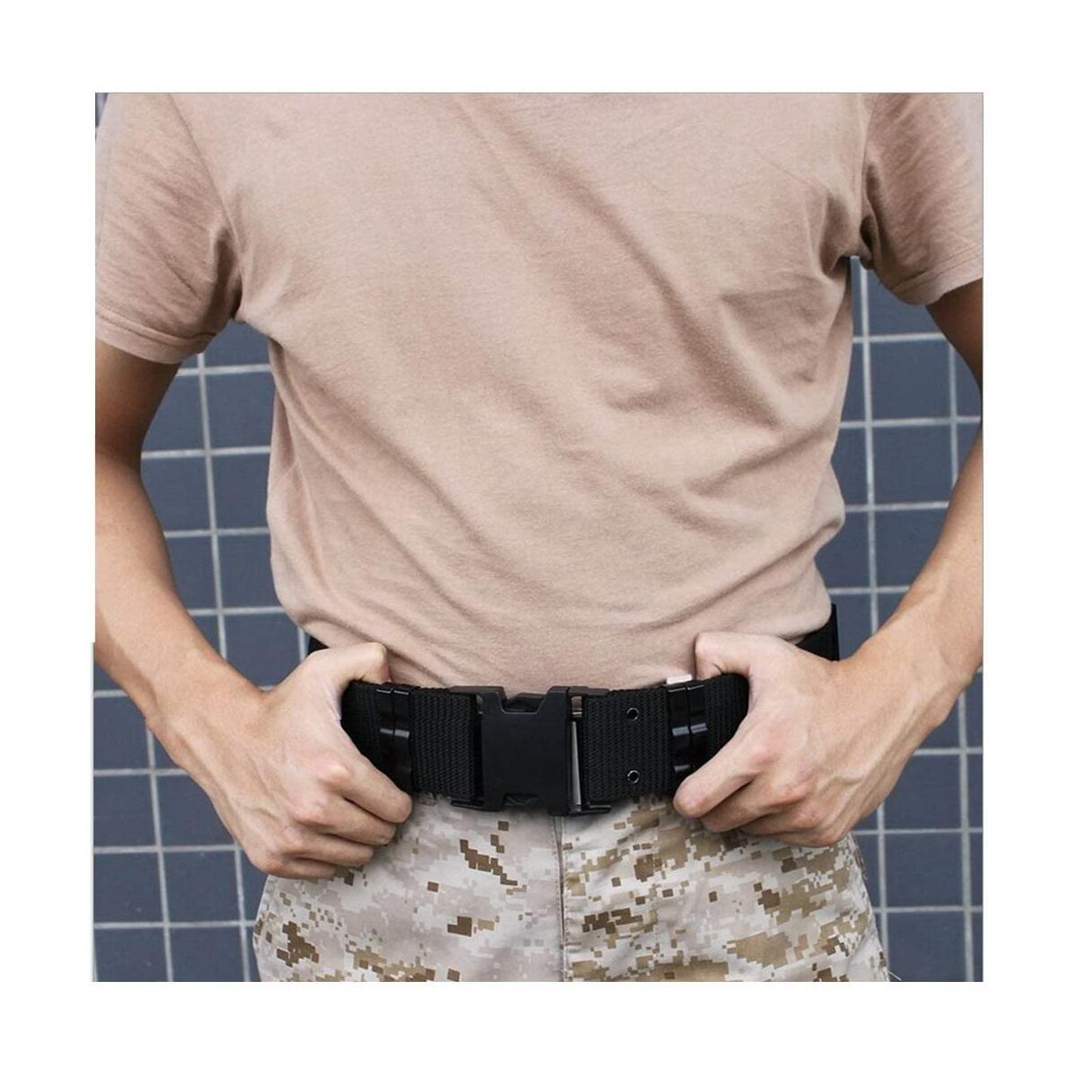 OLEADER Tactical Belt Military Utility Nylon Belt Combat Security Rigger Waist Belt Heavy Duty for Outdoor Hunting Army Survival-93 Khaki