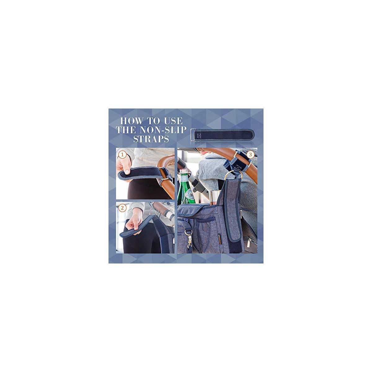 IGGLO Universal Non-slip Stroller Organizer   Insulated Cup Holders   BONUS Stroller Cup Holder And 2 Stroller Hooks   Baby Stroller Accessories Bundle For Moms   Universal Fit   Best Baby Shower Gift
