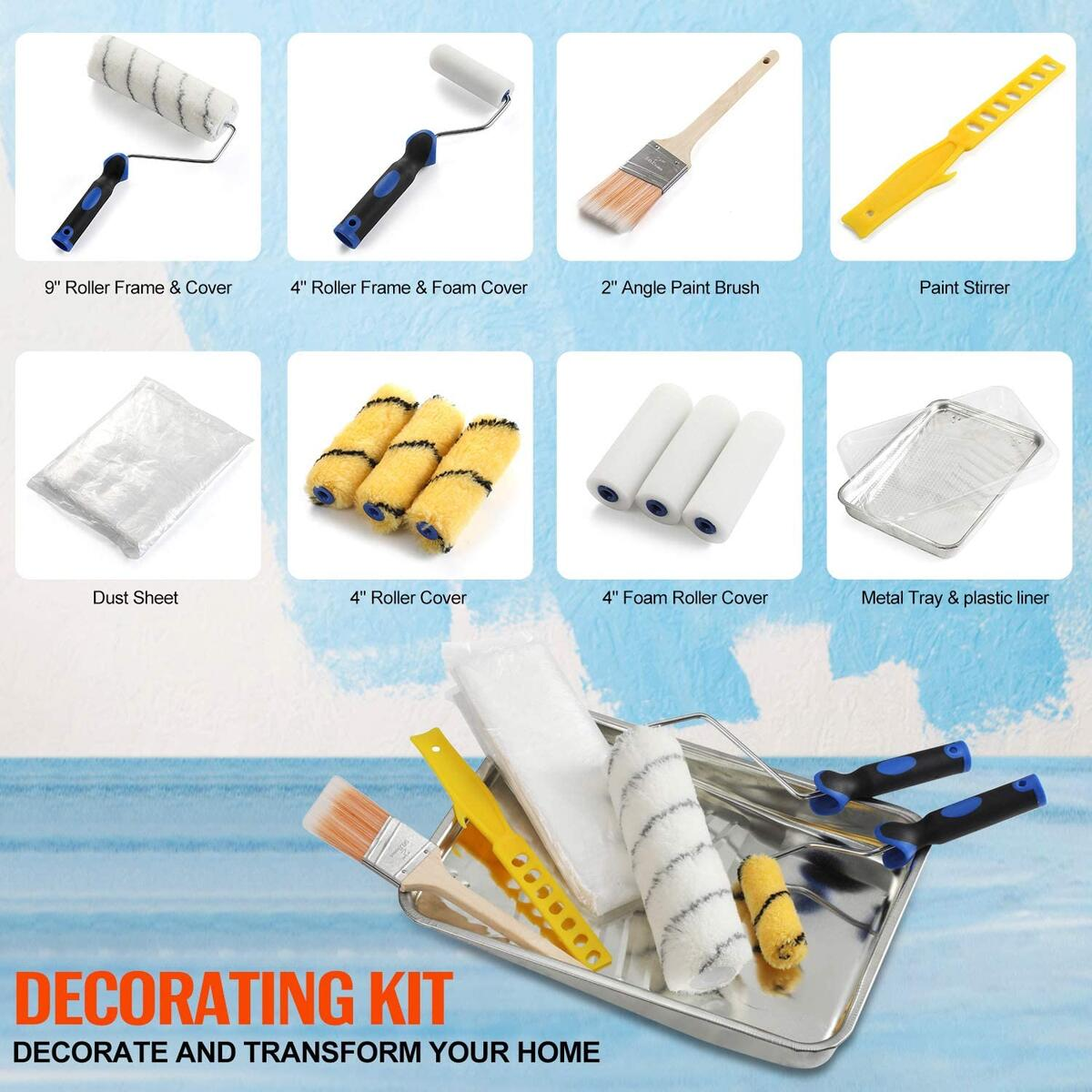 13-piece paint roller and brush set