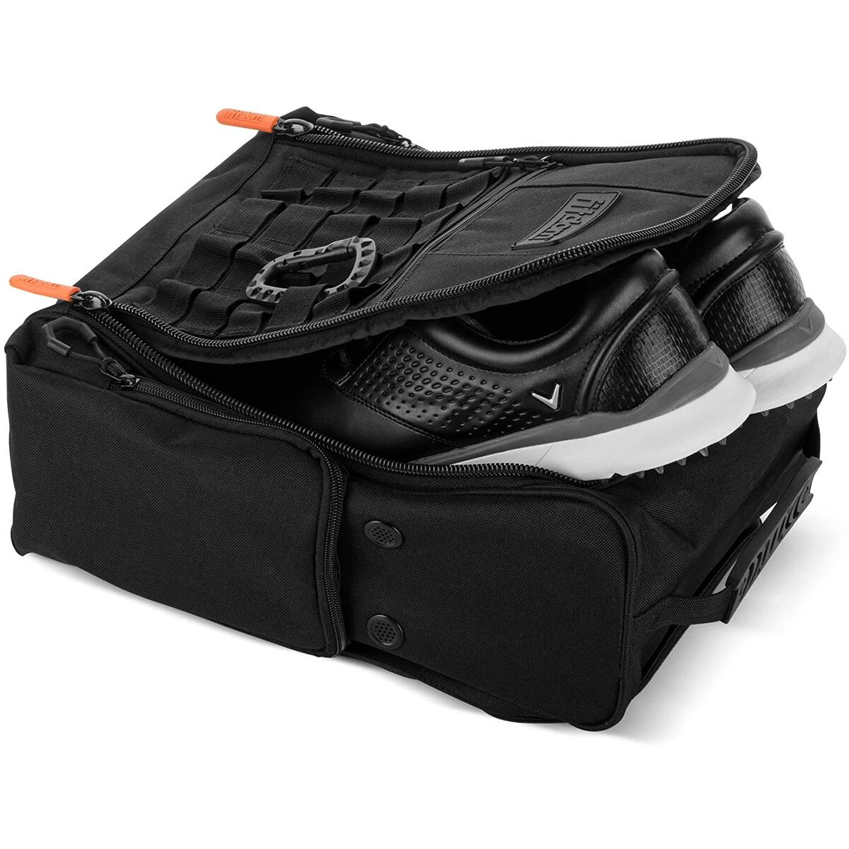Fitdom Golf Shoe Bag - Tactical Style Zippered Black Shoe Carrier Bags with Ventilation & Multiple Outside Pockets for Socks Tees Gloves Brush & Other Accessories ETC Storage. Perfect for Women & Men