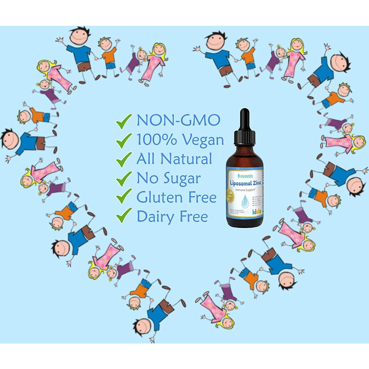 Nuvamin Organic Liquid Liposomal Zinc Drops 2Fl. Oz (60ml). Babies & Children Supplement. All Natural, Easy Absorption, High Bioavailability, Long Durability (2-8 Month of Supply), Lemon Cream Flavor