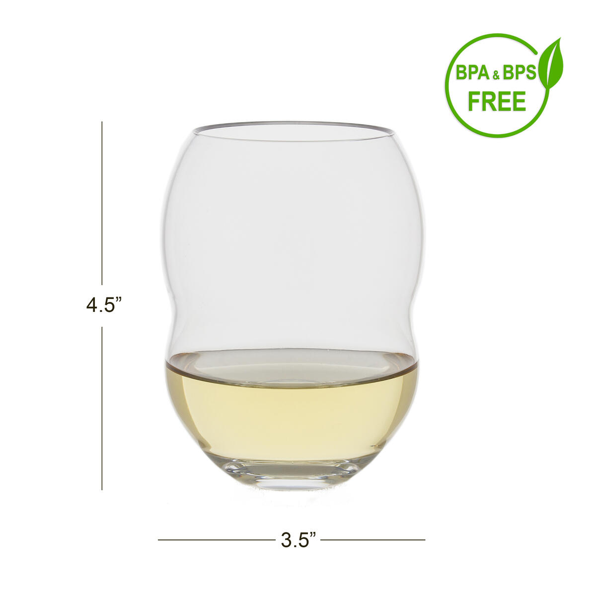 Stemless Plastic Wine Glasses - Set of 4
