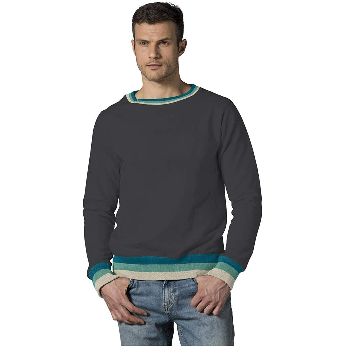 MV Sport Vintage Sweatshirts (Mens Crewneck Sweatshirt) Fleece Retro Sweatshirts - Mens Striped Long Sleeve Pullover