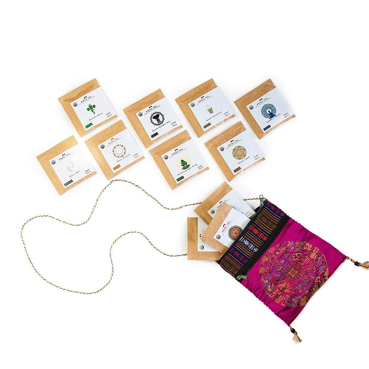 Loose Leaf Tea Sampler Set Travel Pouch, Loose Leaf Tea Set, Nepali Tea Leaves Gift Set, Loose Leaf Tea Variety, Loose Tea Sampler Tea Kit from the Himalayas, 11 ct. 4.5 oz. (Approx. 25 to 30 Cups of Tea) Pink - Nepal Tea