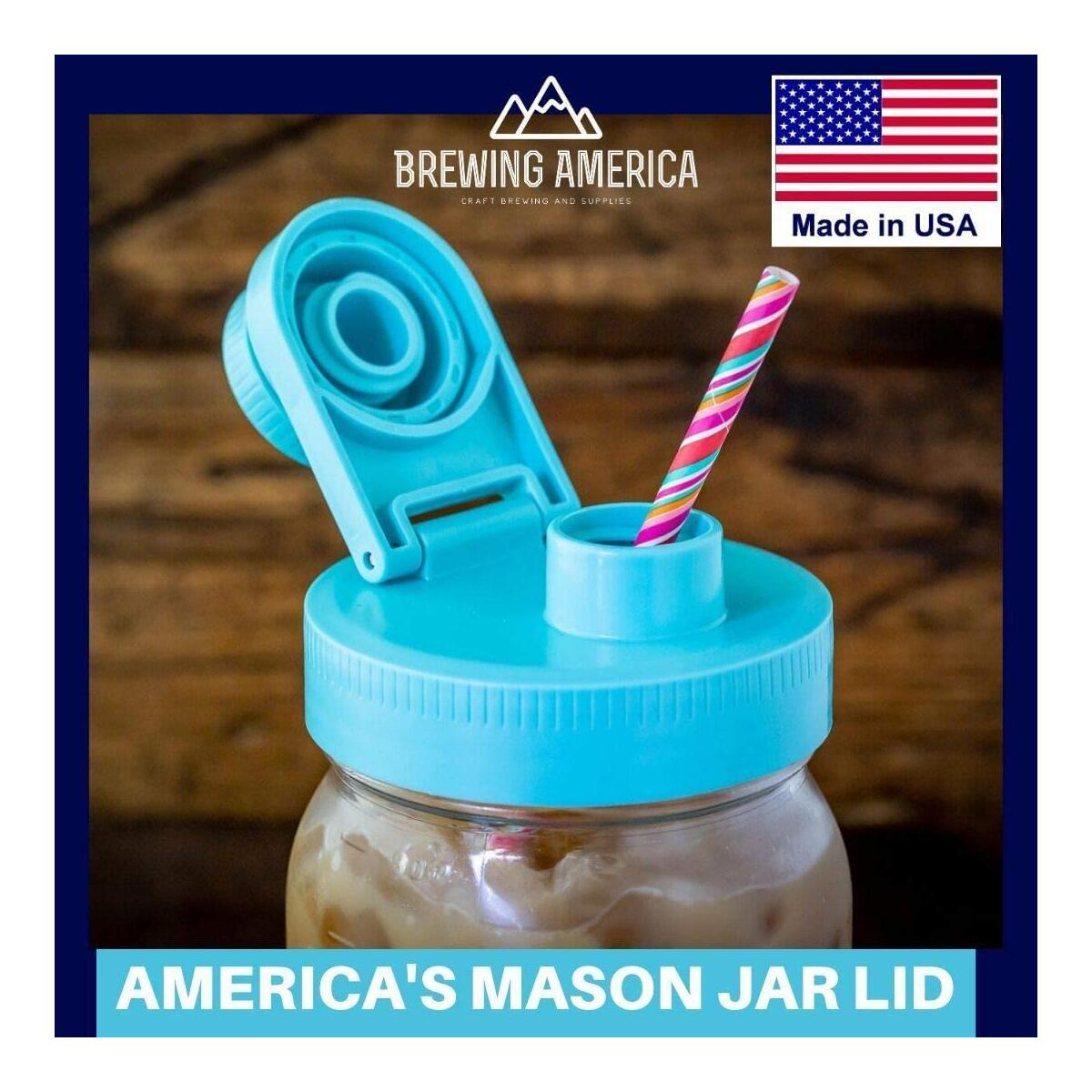 Mason Jar Lids Wide Mouth Plastic - With Flip Cap Pouring Spout and Drink Hole - Fits Kerr and Ball Canning Jars - Wet/Dry Food and Liquid Storage - MADE IN USA - Teal 4-pack