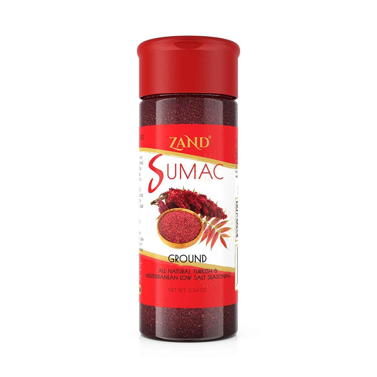 Zand Ground Sumac Spice 2.1oz - All Natural Turkish and Mediterranean Low Salt Seasoning with Robust Flavor and Deep Red Color for Garnish; Flavors Meats, Seafood, Poultry, Grains, Vegetables and More