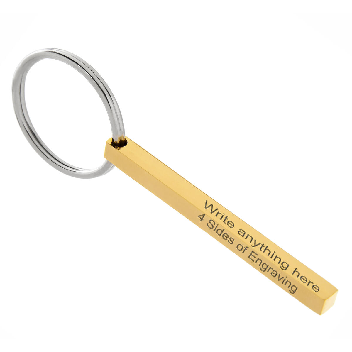 Custom Engraved Keychain. 4 Sides of FREE engraving. Customizable Personal Key Chain with Ring