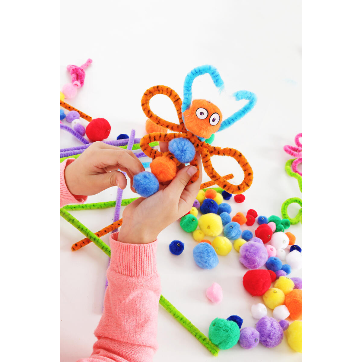 Incraftables 2000 Pcs Pom Poms with Googly Eyes. Best Colored & Glitter Cotton 0.4 to 1.4 inch Balls for DIY Craft, Hats & Decorations.