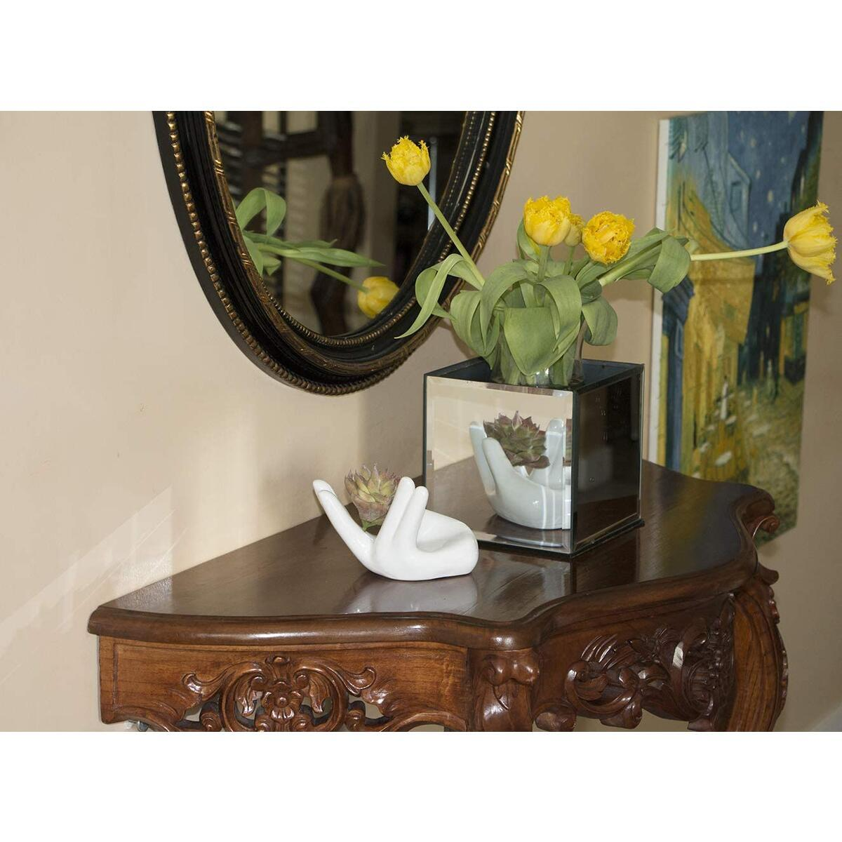 Versatile Ceramic AirSucculent/Ocarina Holder with 5 Fake Succulents in One Amazing Set