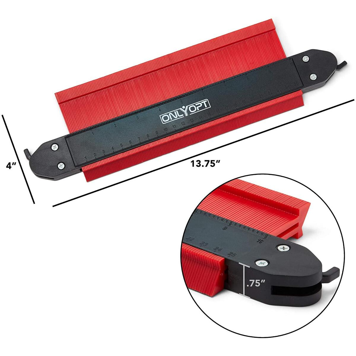 ONLYOPT Contour Gauge Tool - 10 Inch - Home Improvement Tool - Angle Duplicator - Accurate Profile - Copy Irregular Shapes - DIY Template - Lock Feature - Red