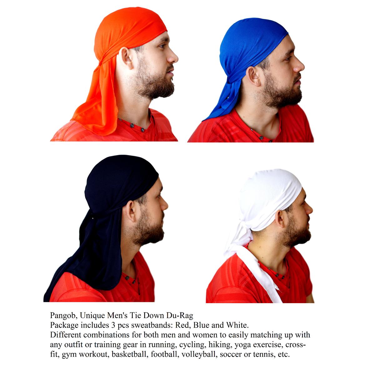 Pangob, Unique Men's Tie Down Du-Rag Scarf Head Sport Band, Athlete's Cap Hat (Red, White, Blue). Adjustable Tie Headband Sweat Wicking Head Hair Wrap Cap Pirate Bandana Beanie