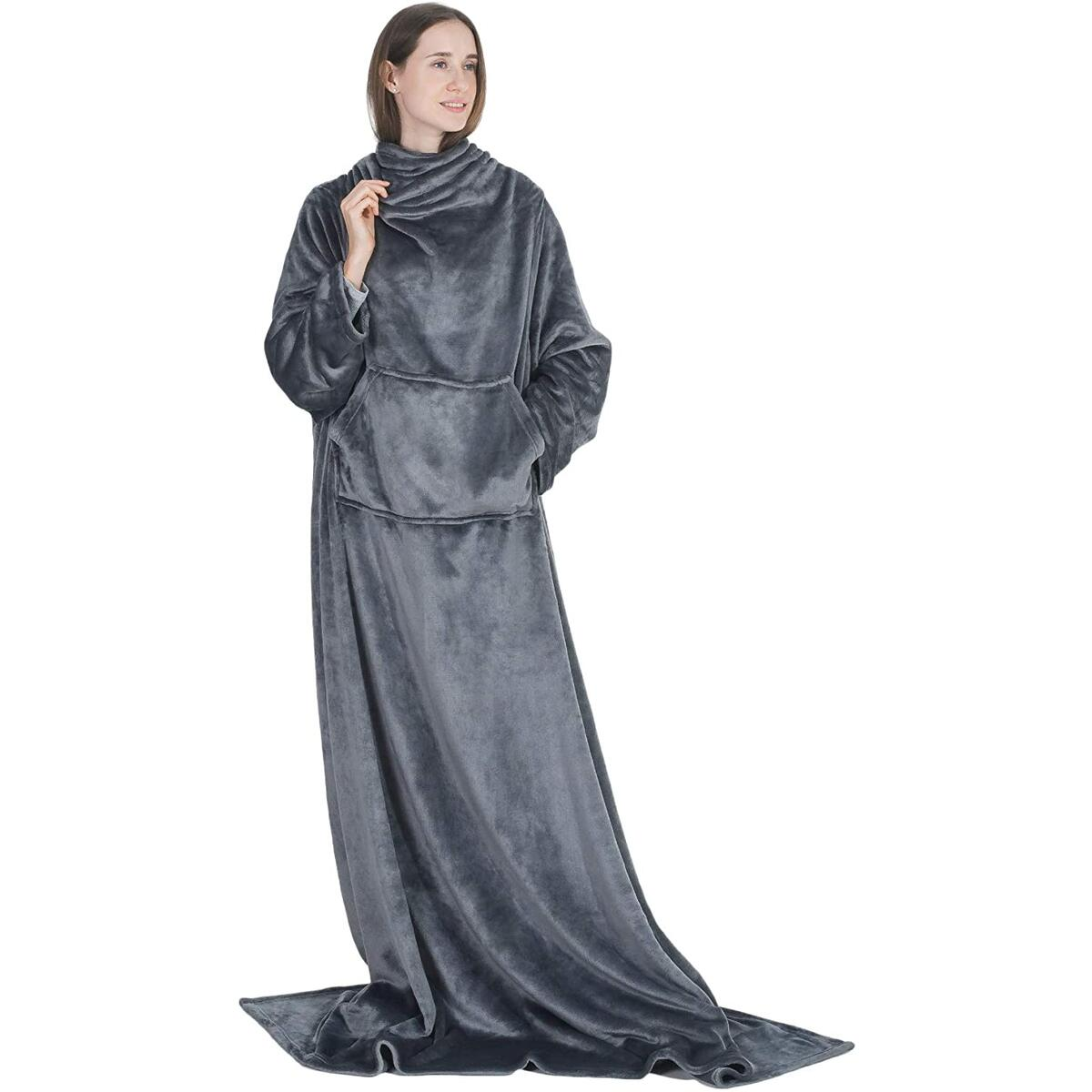 Wearable Blanket Snuggle with Sleeves and Pocket