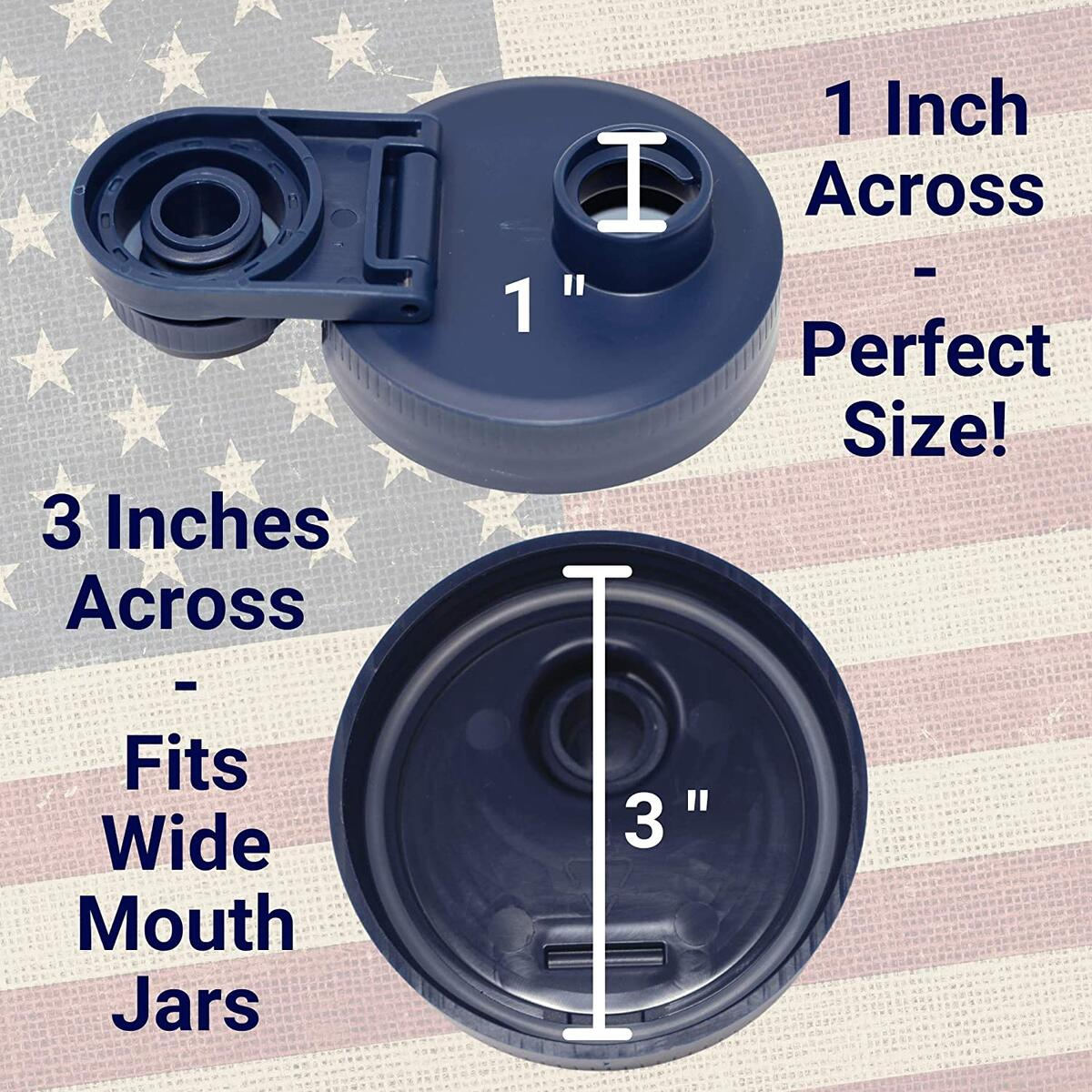 Mason Jar Lids Wide Mouth Plastic - Blue 4-pack With Flip Cap Pouring Spout and Drink Hole - Fits Kerr and Ball Canning Jars - Wet/Dry Food and Liquid Storage - MADE IN USA - Blue 4pack