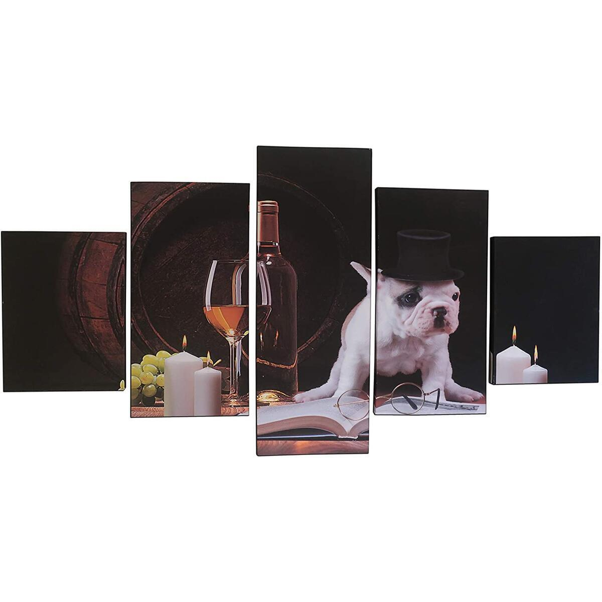 """LuckyChoice Canvas Wall Art Painting/Five Piece Sectioned Canvas Wall Art/Beautiful High-Resolution Printed Rustic Photo of Dog Drinking Wine – 59"""" x 31.5""""- Perfect for Bar, Dorm Room, Family Room"""