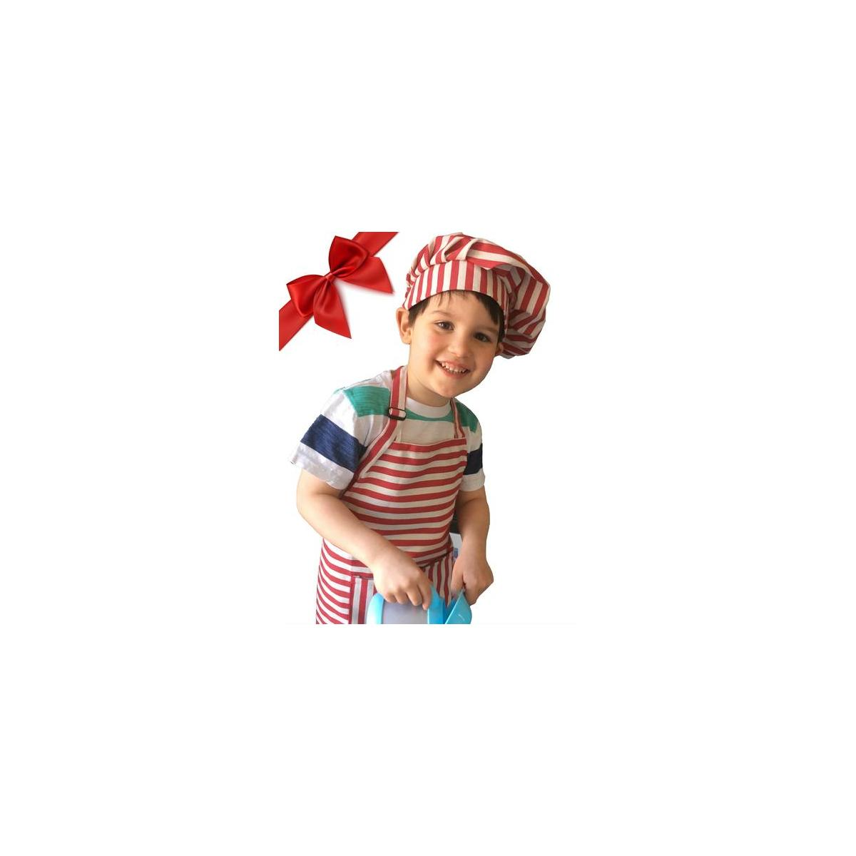 Red Stripe Kids Apron and Chef Hat