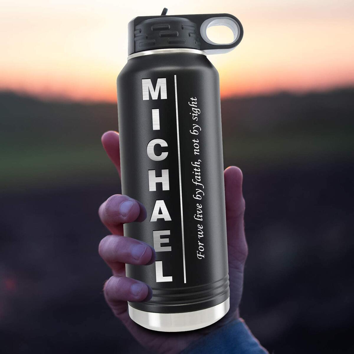 Personalized Water Bottles 32oz with Flip-top Lid and Straw, Customized Vacuum Insulated Water Flask, Stainless Steel Sports Double Wall Thermos, Your Name Text Engraved in USA by iProductsUS (9 Colors)