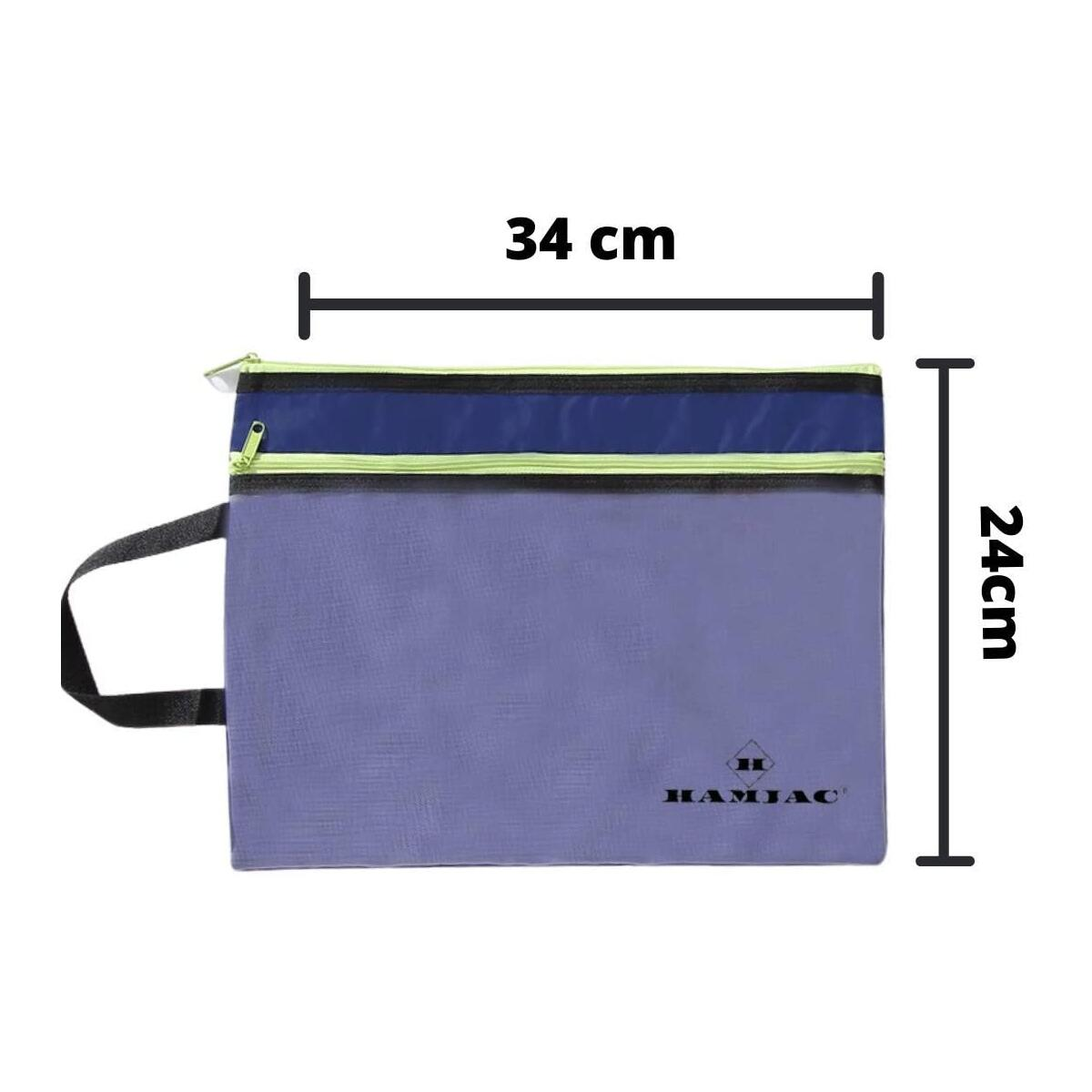 Hamjac Mesh Zippered Bag – Plastic Mesh Zipper Pouch – 2 Zip Pockets Holder for Documents –Organizing Mesh Zipper Bag Letter Size A4 for School, Office, Travel Storage – 20pcs Blue and Cream
