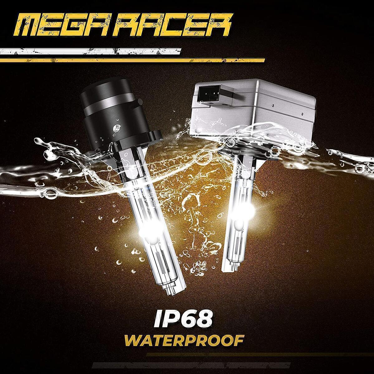Mega Racer D2S Bulb 6000K Diamond White D2S/D2R Xenon HID Bulbs for Low Beam High Beam Replacement Bulbs, 35W 8000 Lumens Metal Stents Base 12V IP68 Waterproof, Pack of 2