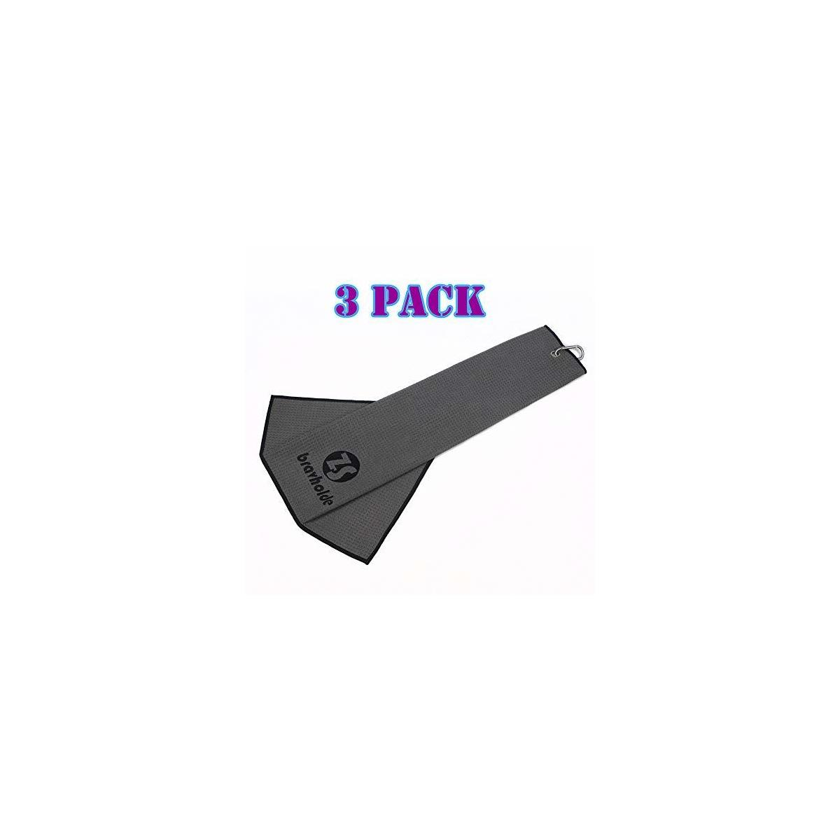 """Tri-fold Golf Towel(3 Pack),16""""x24"""" with Carabiner Clip