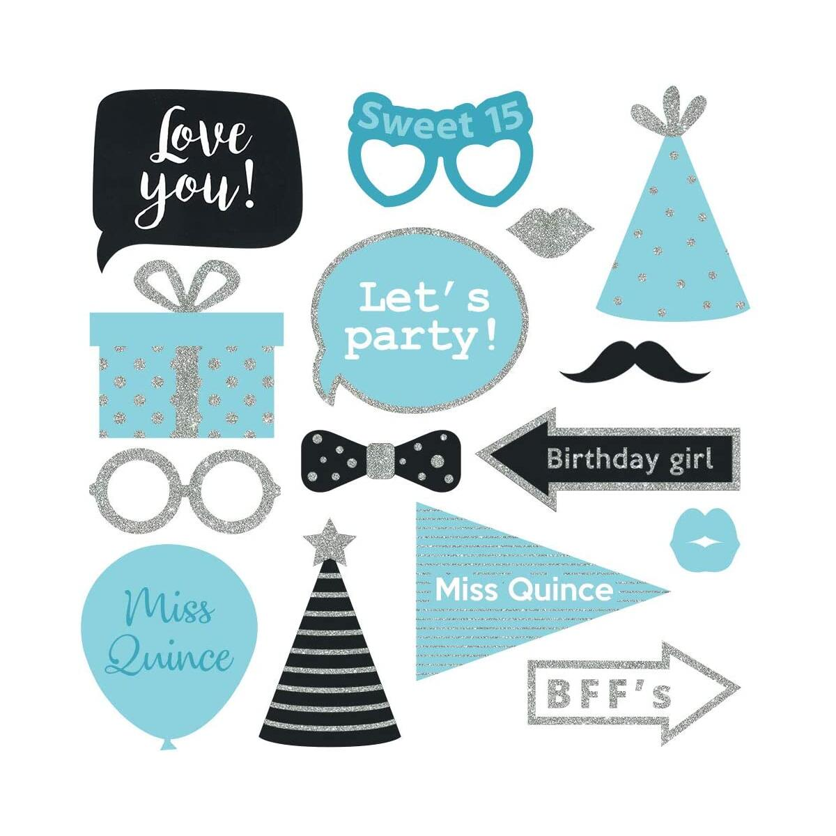 Fully Assembled 15 Birthday Quinceanera Photo Booth Props - Set of 30 - Teal Blue & Silver Quince Selfie Signs - Cute 15th Party Supplies & Decorations with Real Glitter - Did we mention no DIY?