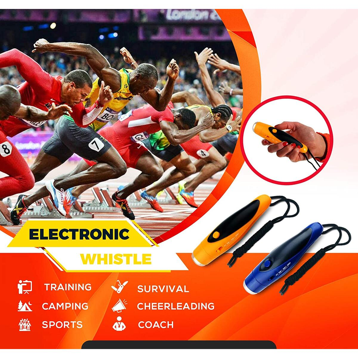 Blooco Three Tone Electronic Whistles for Referees, Teachers, Coach, Lifeguards, Sports - Hand Whistle with Lanyard, Lifeguard Whistle, Referee Whistle, Electric Whistles, Sports Whistle - 3 Volume…