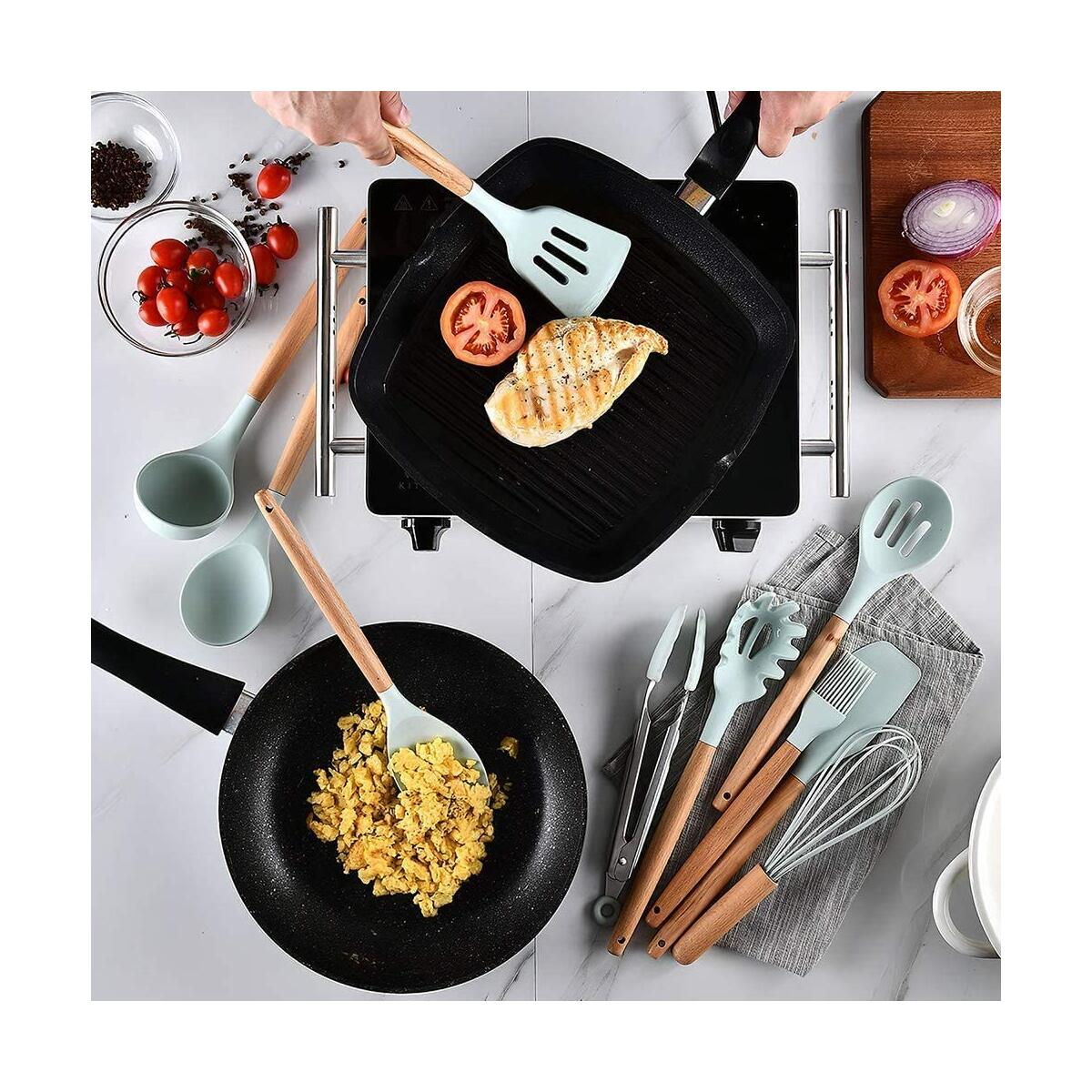 Silicone Cooking Utensils Set by EVULAN