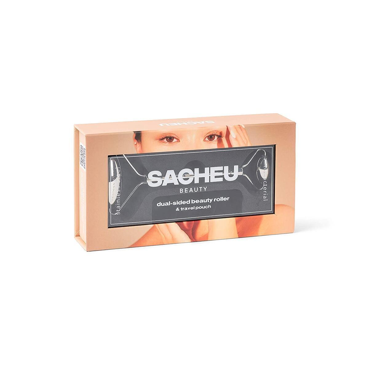 Stainless Steel Beauty Roller with Travel Pouch, Dual sided - By SACHEU
