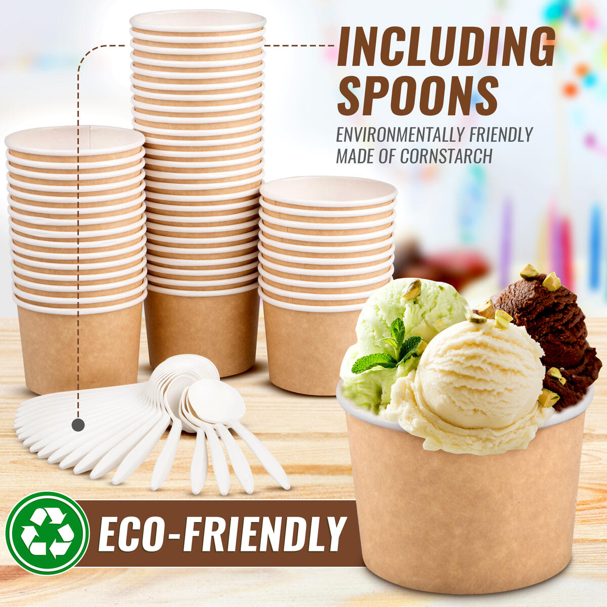 Paper Ice Cream Cups - 50 Pack Disposable Ice Cream Cups including 50 Spoons for Hot and Cold Food - Brown
