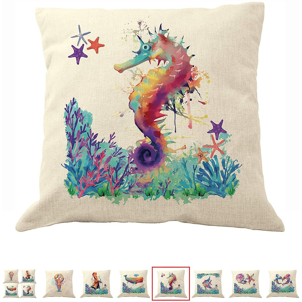 DrupsCo 18x18 Seahorse Pillow Cover for Couches - Seahorse Decor Pillow Cover, Cotton Linen Coastal Decor Beach Theme Pillow Covers