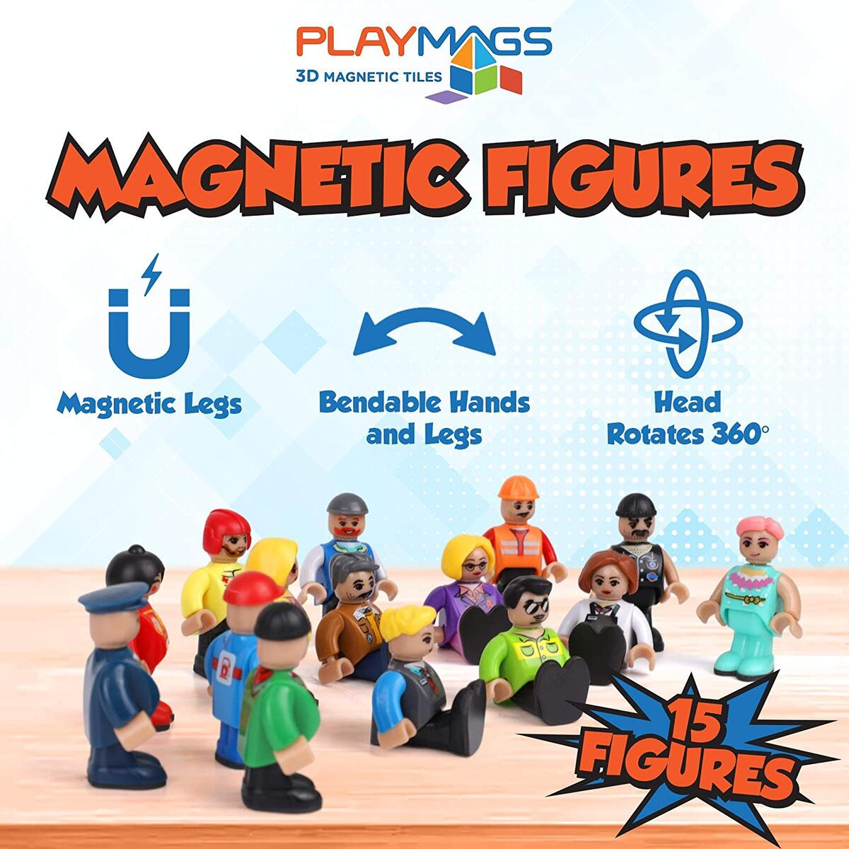 Playmags Magnetic Figures-Community Figures Set of 15 Pieces - Magnetic People with Extra-Strong Magnets, STEM Learning Toys Children - Magnetic Tiles Expansion Pack- Compatible w Other Brands