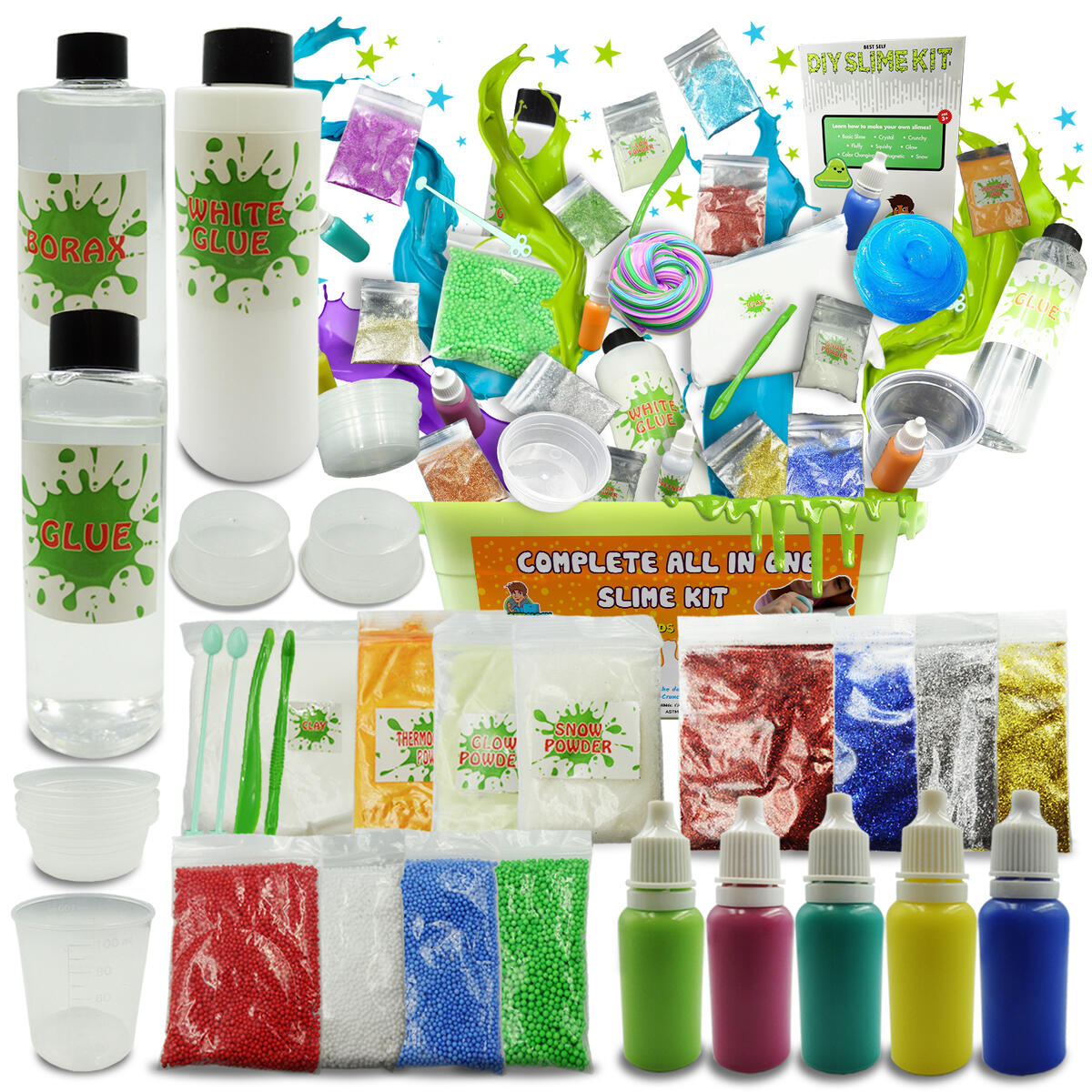 Slime Kit 47 PCS Complete DIY Making Fluffy Glow In the Dark Girls Boys Package Deal Rugged Container Glitter Borax Glue All In One Kit Set