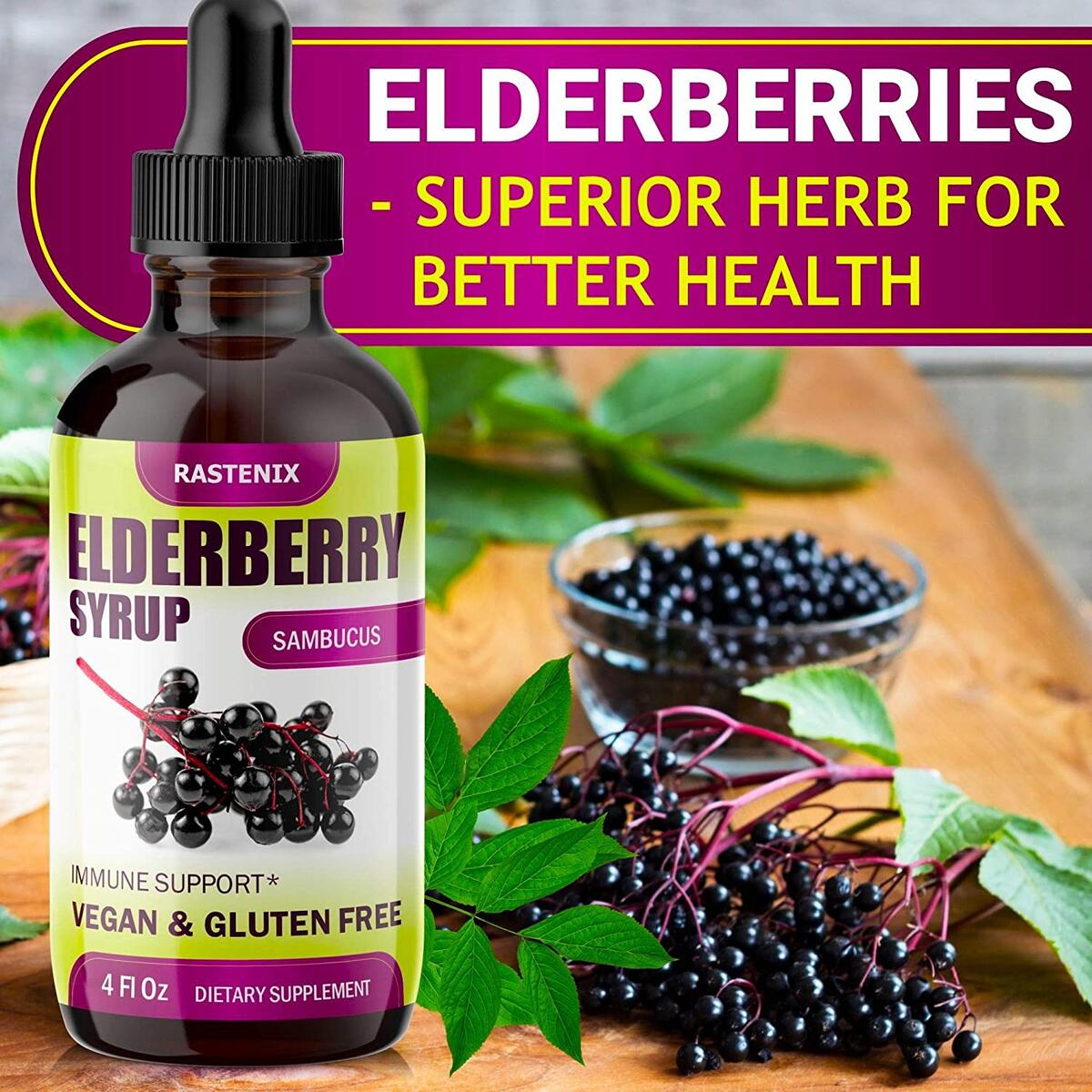 Sambucus Elderberry Syrup - Immunity Support with Antioxidants - Sugar-Free Black Elderberry Extract Liquid for Kids & Adults - Vegan - Easy Absorption - Made in USA - 4 oz